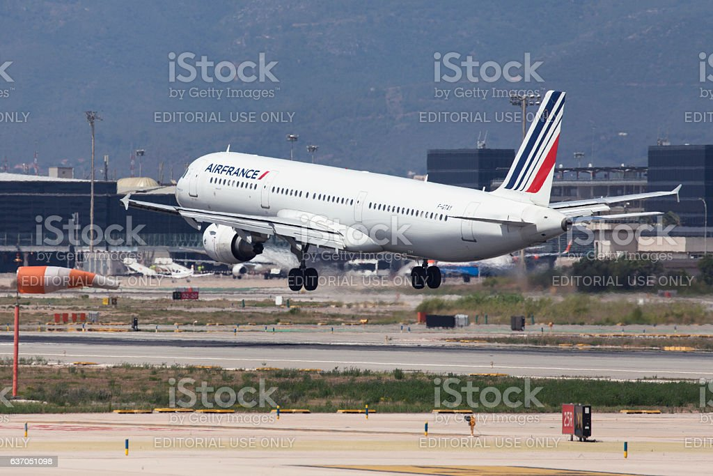 Air France Airbus A321 Landing at Barcelona stock photo