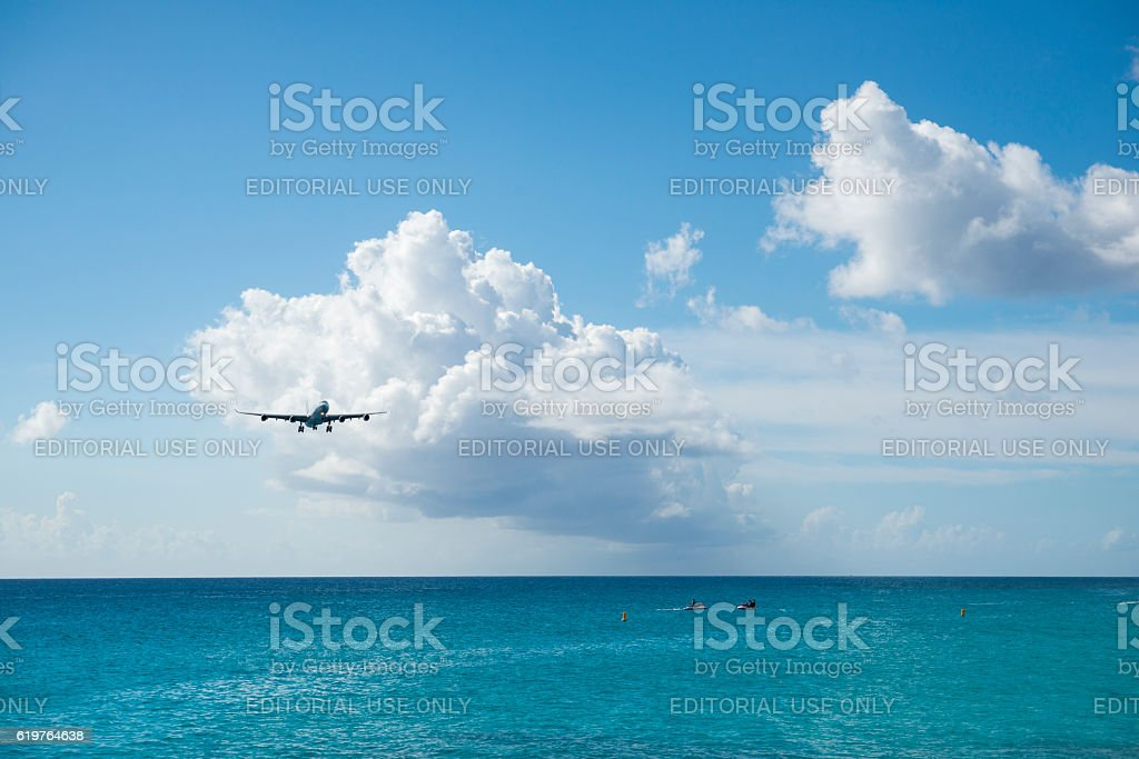 Air France Airbus A340 landing on St. Maarten stock photo