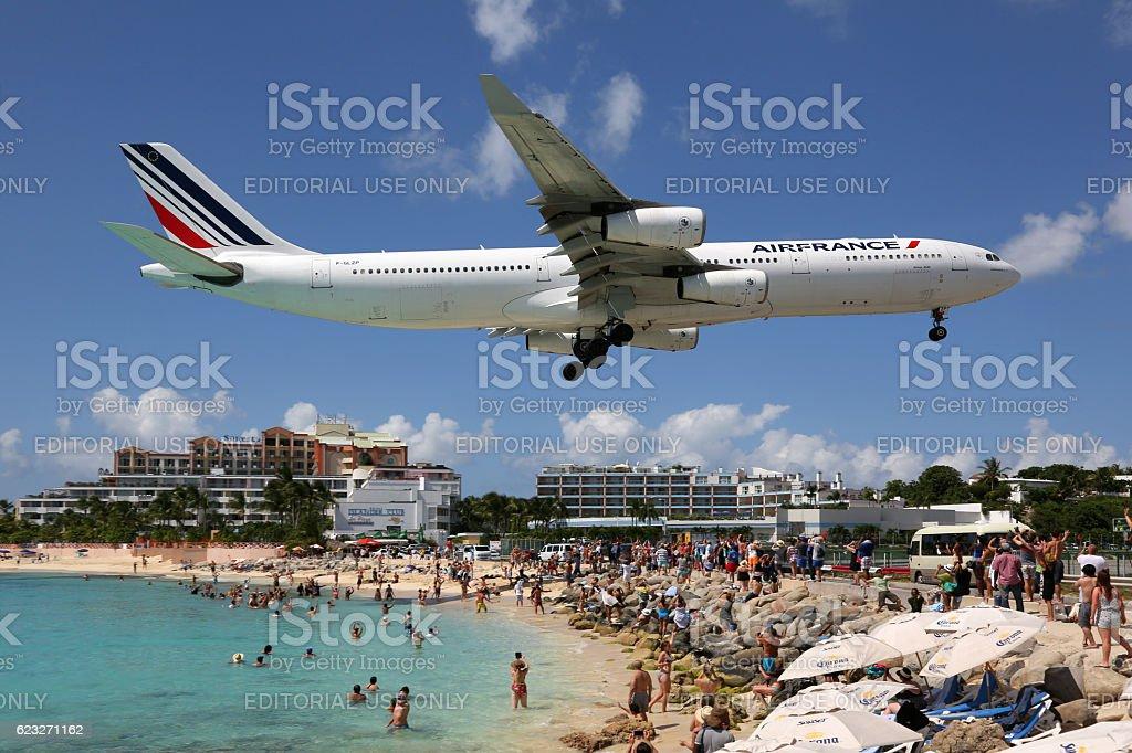 Air France Airbus A340-300 airplane landing Sint Maarten airport stock photo