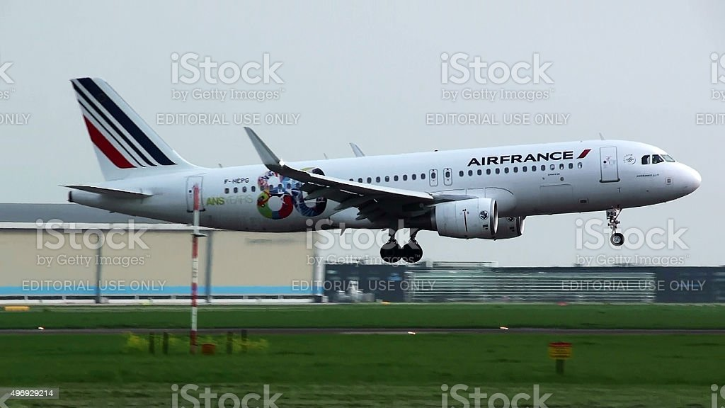 Air France Descending For Landing At Schiphol Airport Amsterdam stock photo