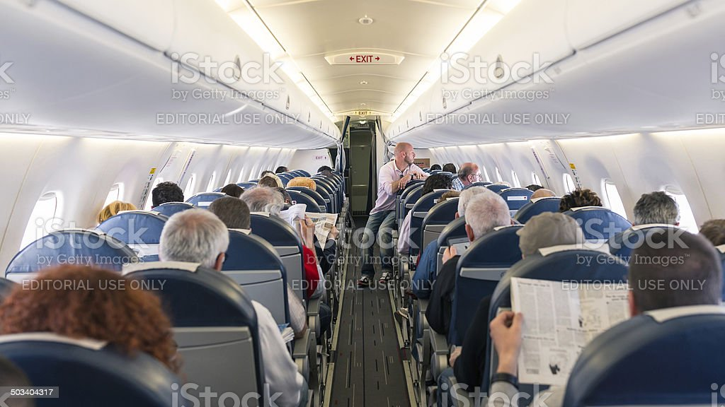Air France Jet airplanes interior view. stock photo