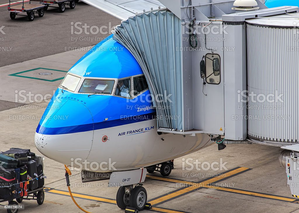 Air France KLM airplane in the Zurich Airport stock photo