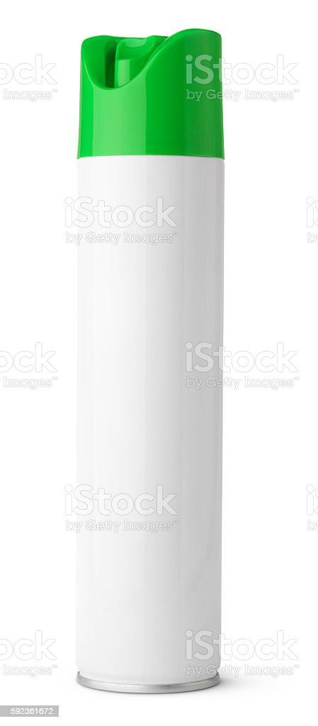 Air freshener aerosol spray metal bottle can isolated on white stock photo