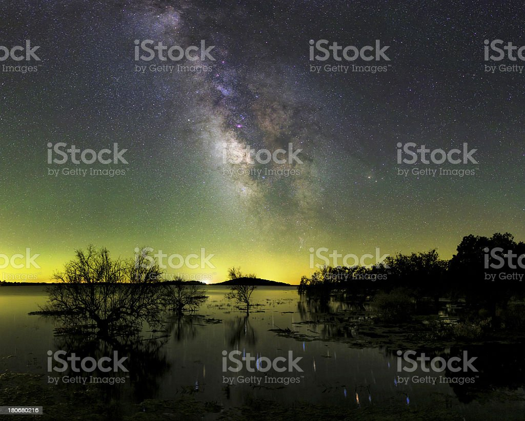 Air Glow, Milky Way and the Great Lake Alqueva stock photo
