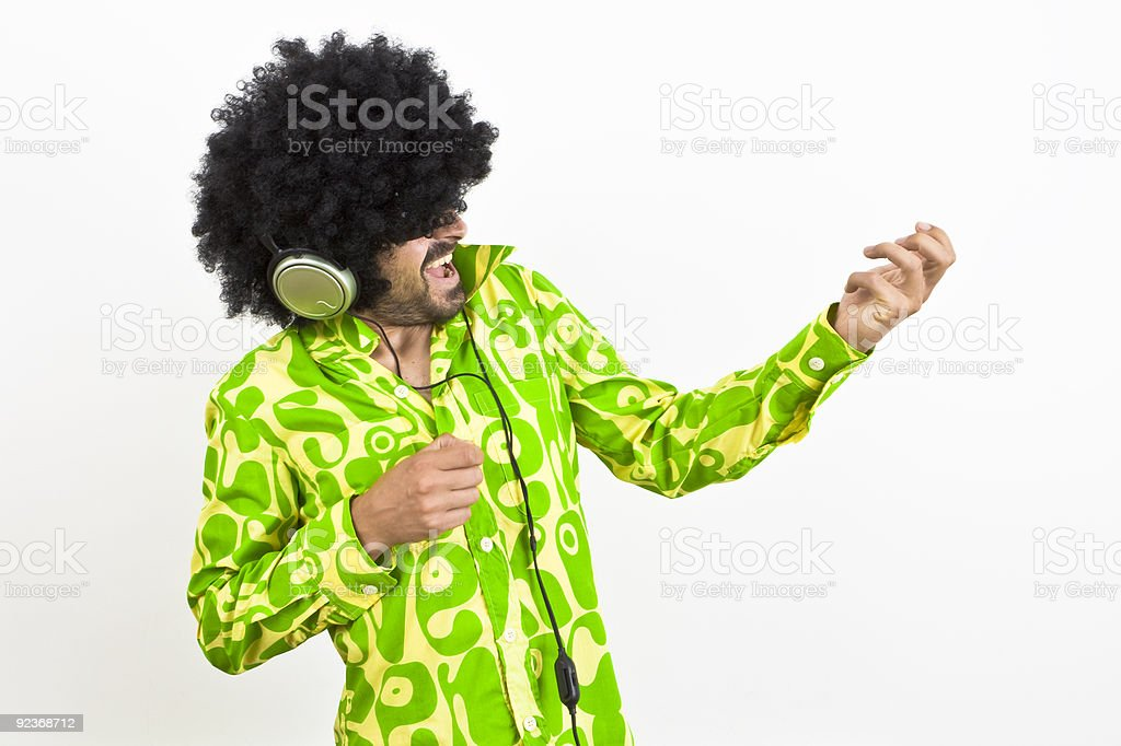 Air guitar 1970s retro style royalty-free stock photo