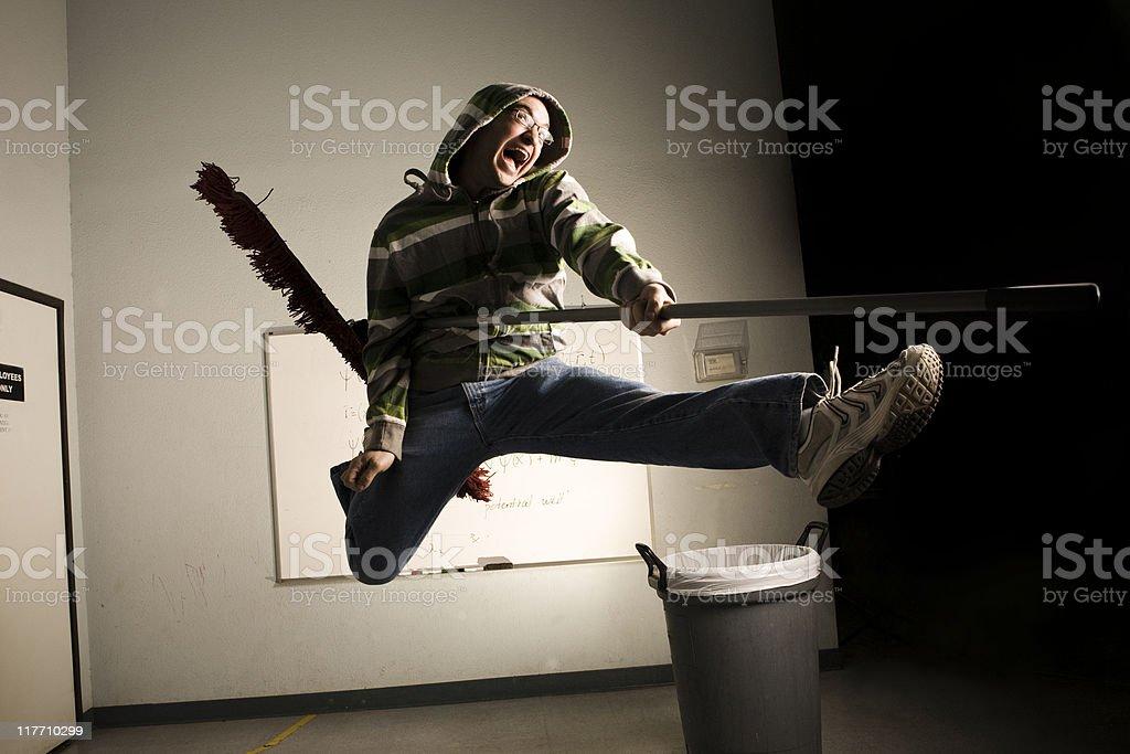 Air Guitar Janitor stock photo