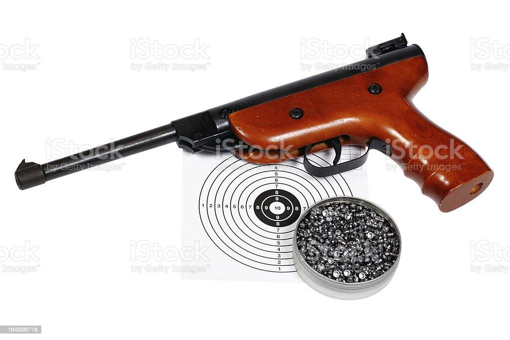 Air gun with gun-shield and pellets in box royalty-free stock photo