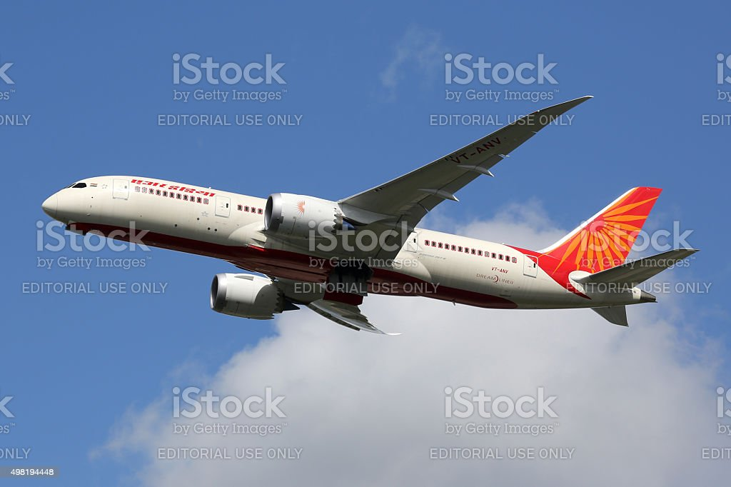 Air India Boeing 787-8 Dreamliner airplane stock photo