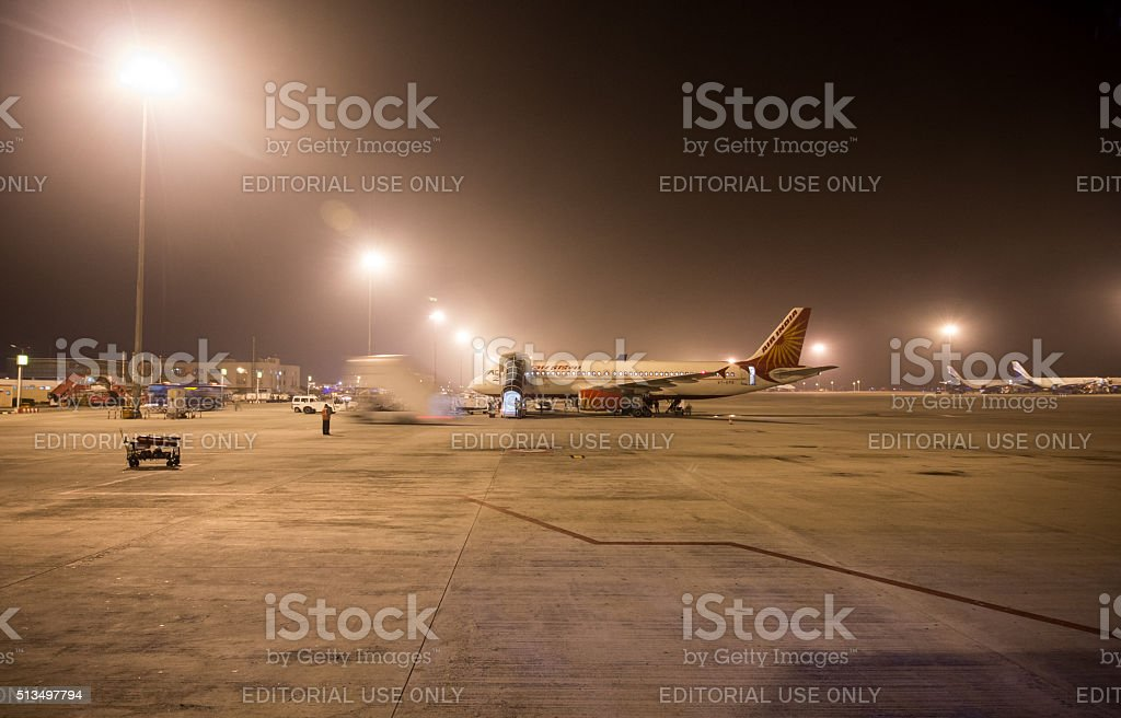Air India Flight waiting for departure due to heavy fog stock photo