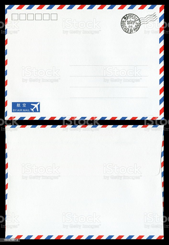 Air mail envelope background isolated royalty-free stock photo