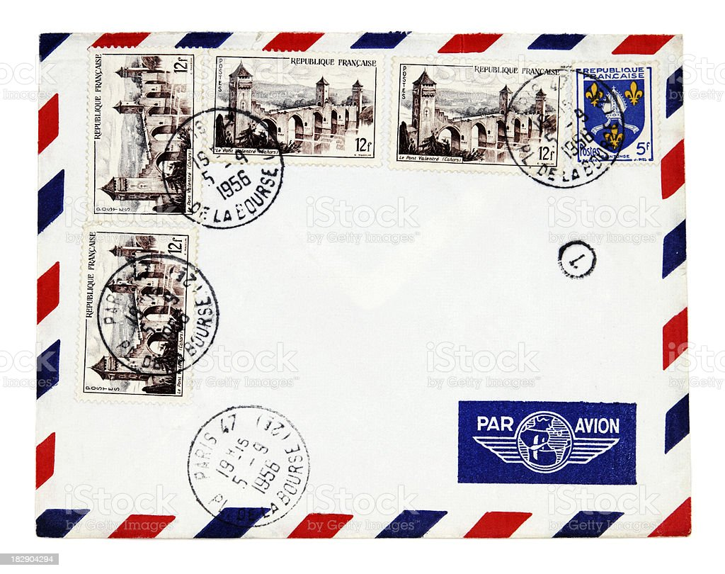Air mail envelope with 1956 Paris postmark and French stamps royalty-free stock photo