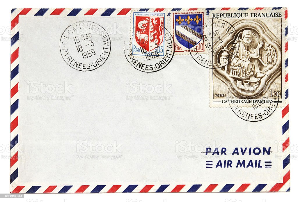 Air mail envelope with 1969 postmark and French stamps royalty-free stock photo