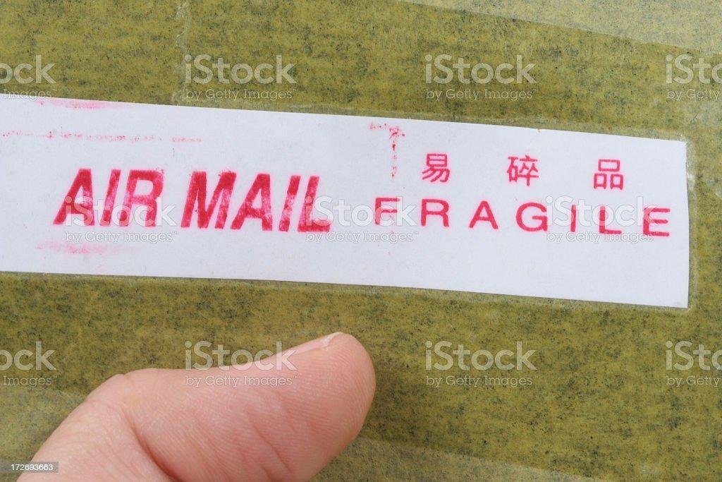 Air mail Fragile stock photo