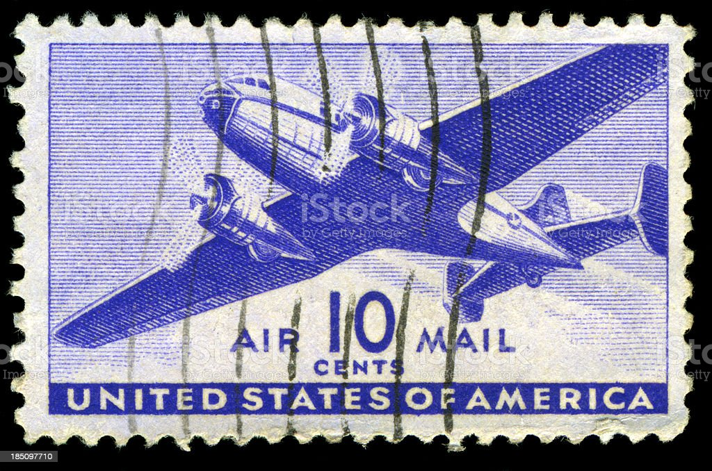 US Air Mail Postage Stamp royalty-free stock photo