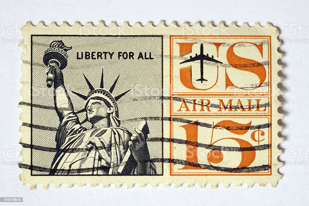 USA air mail postage stamp royalty-free stock photo