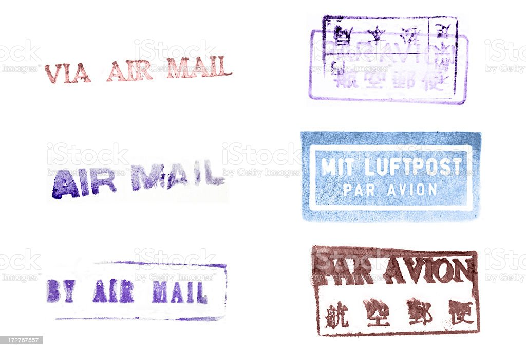 Air Mail Postmarks royalty-free stock photo
