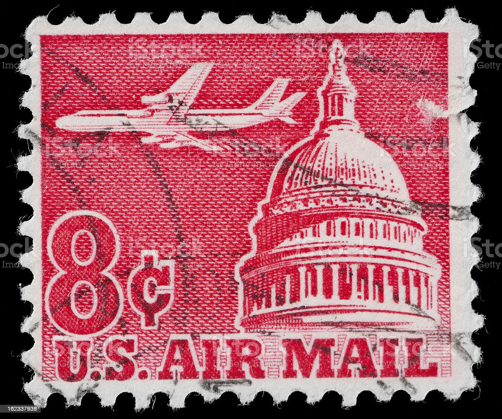 US Air Mail Stamp, Capitol Building Dome and Jet Aircraft stock photo