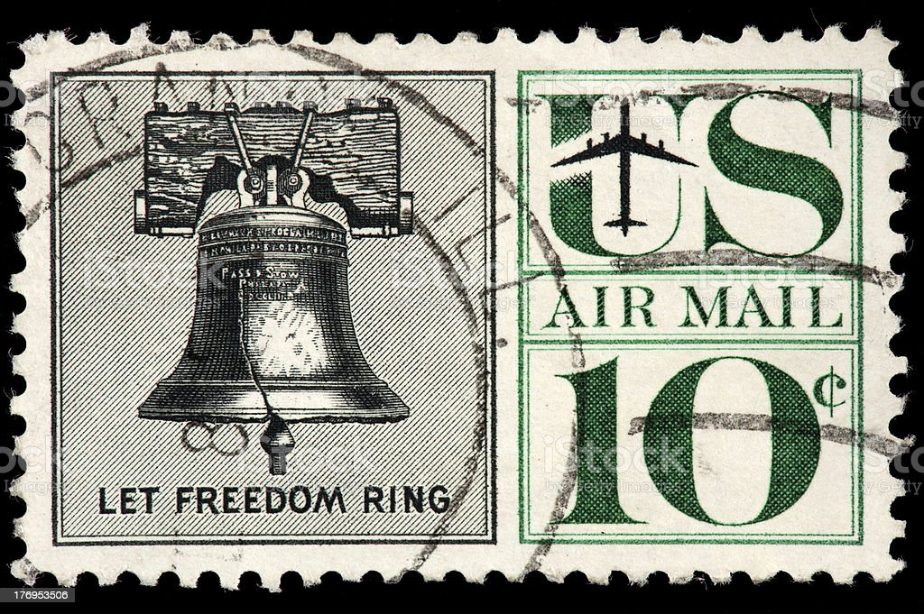 'US Air Mail Stamp with Liberty Bell, Let Freedom Ring' stock photo