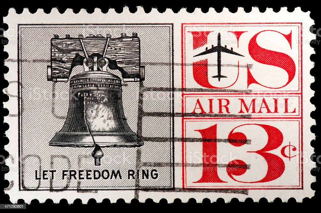 US Air Mail Stamp with Liberty Bell, 'Let Freedom Ring' stock photo