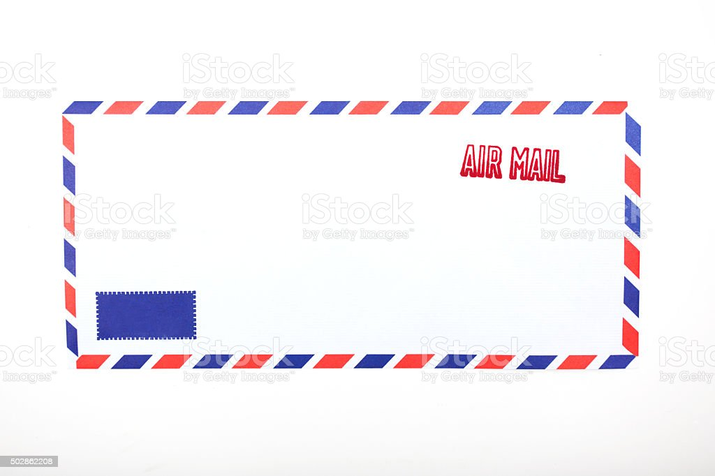air mail stamped on the envelope stock photo