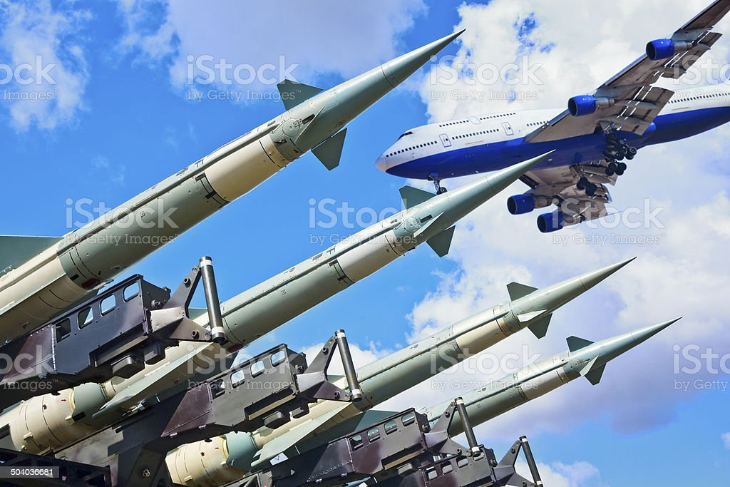 Air missiles against jet royalty-free stock photo