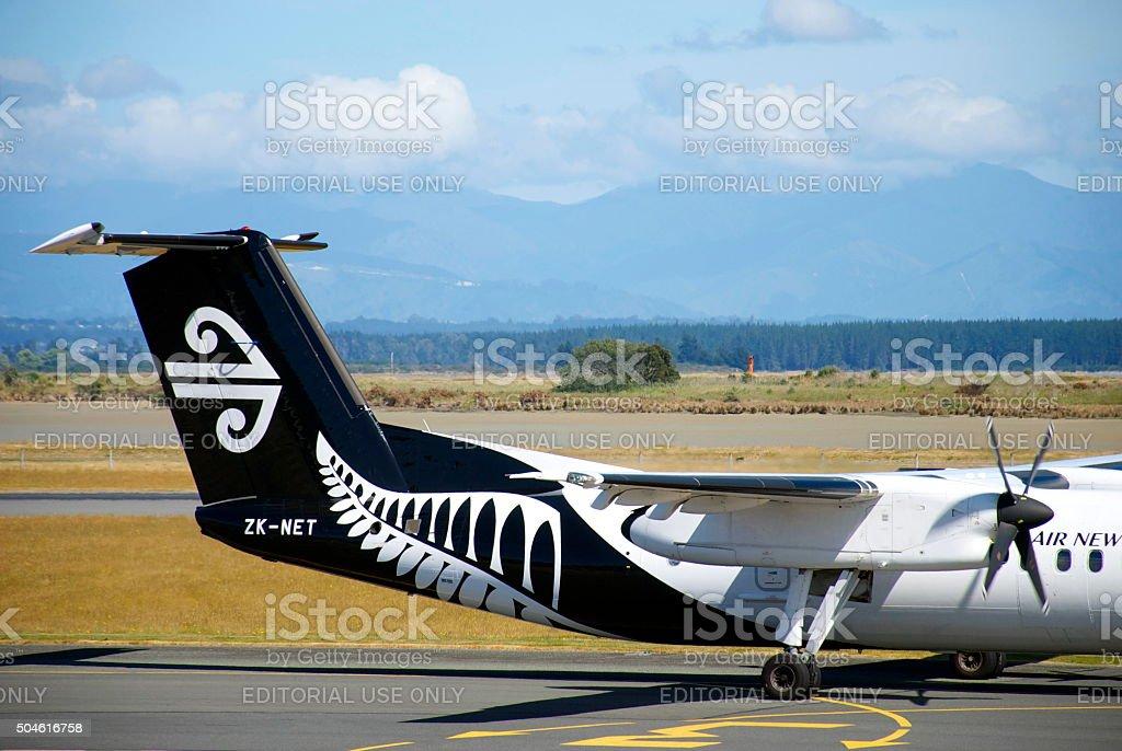 Air New Zealand All Blacks Theme Livery Aeroplane Tail stock photo