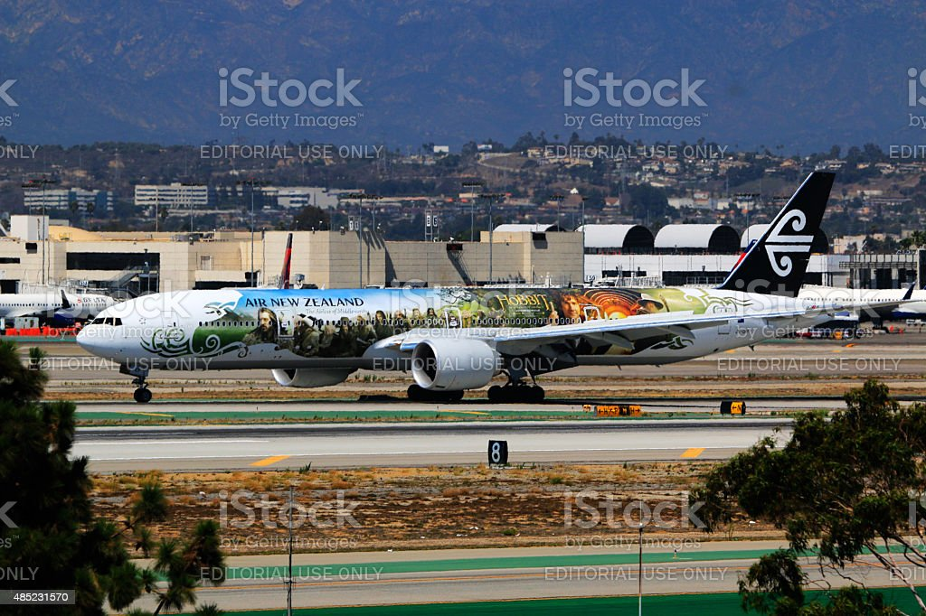 Air New Zealand Boeing 777-300 at Los Angeles International Airport stock photo
