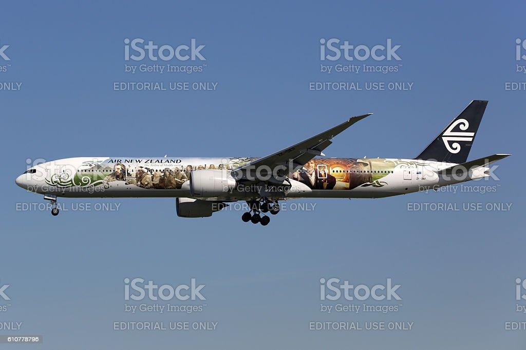 Air New Zealand Boeing 777-300ER Hobbit airplane stock photo