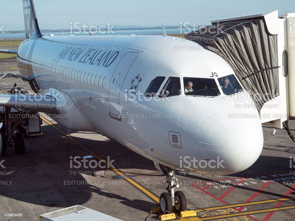 Air New Zealand passenger jet at Auckland Airport stock photo