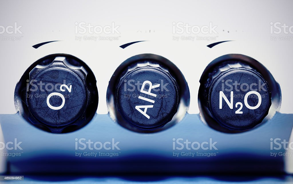 Air, oxygen, nitrous oxide - medical gases. concept. stock photo
