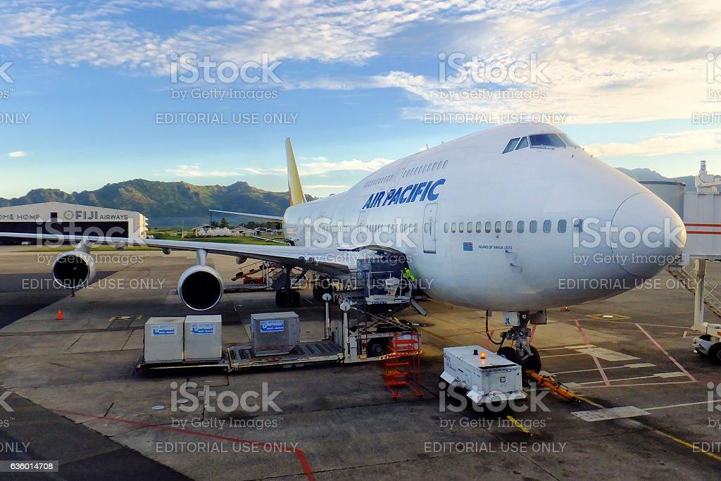 Air Pacific plane at Nadi International Airport, Viti Levu Islan stock photo