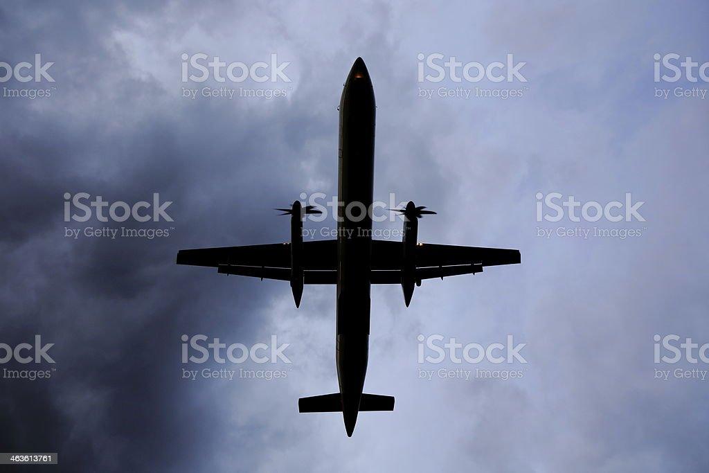 Air Plane in Dark Sky stock photo