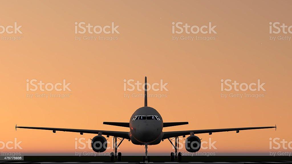 air plane silhouette light stock photo