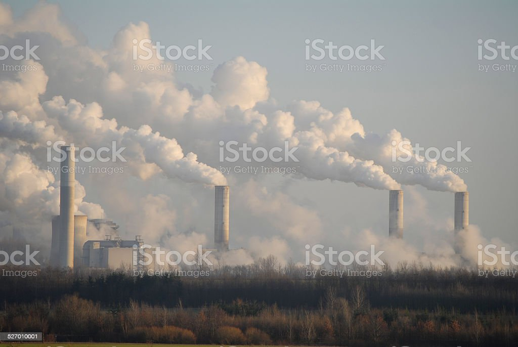 Air pollution by power plant stock photo