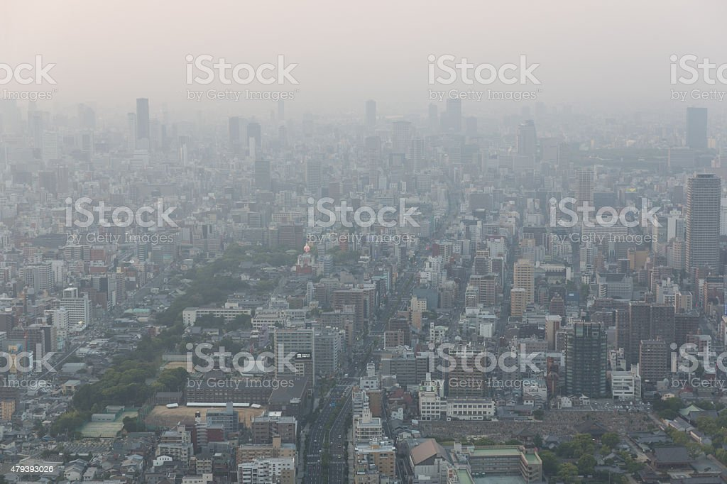 Air Pollution, Haze covers the Osaka Skyline in Japan stock photo