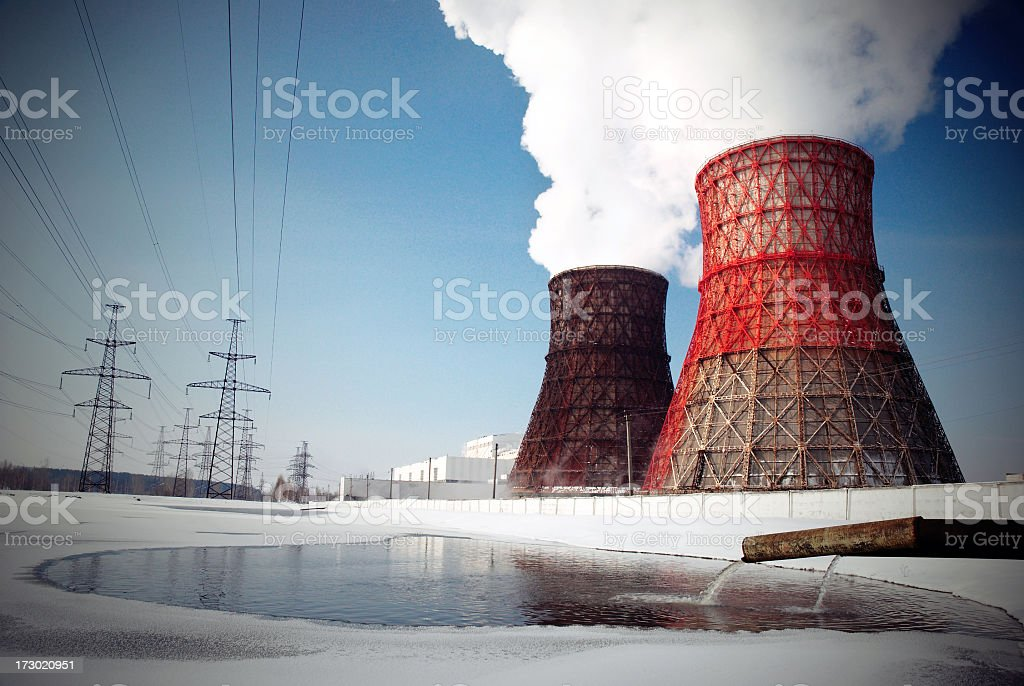 Air pollution in a nuclear power plant stock photo