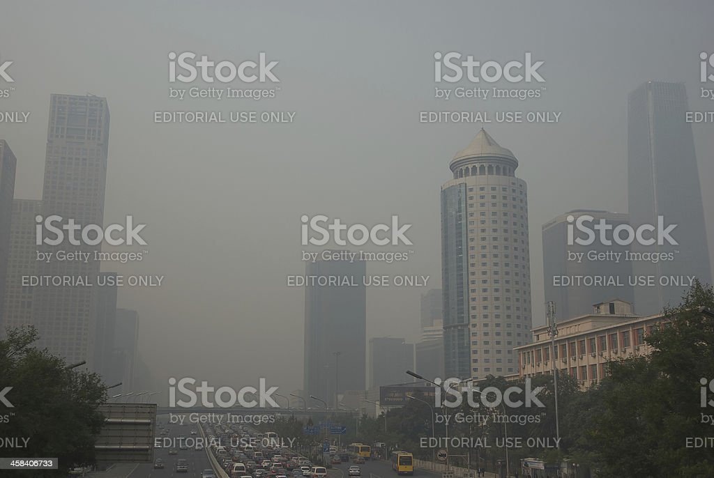 Air Pollution in Beijing stock photo