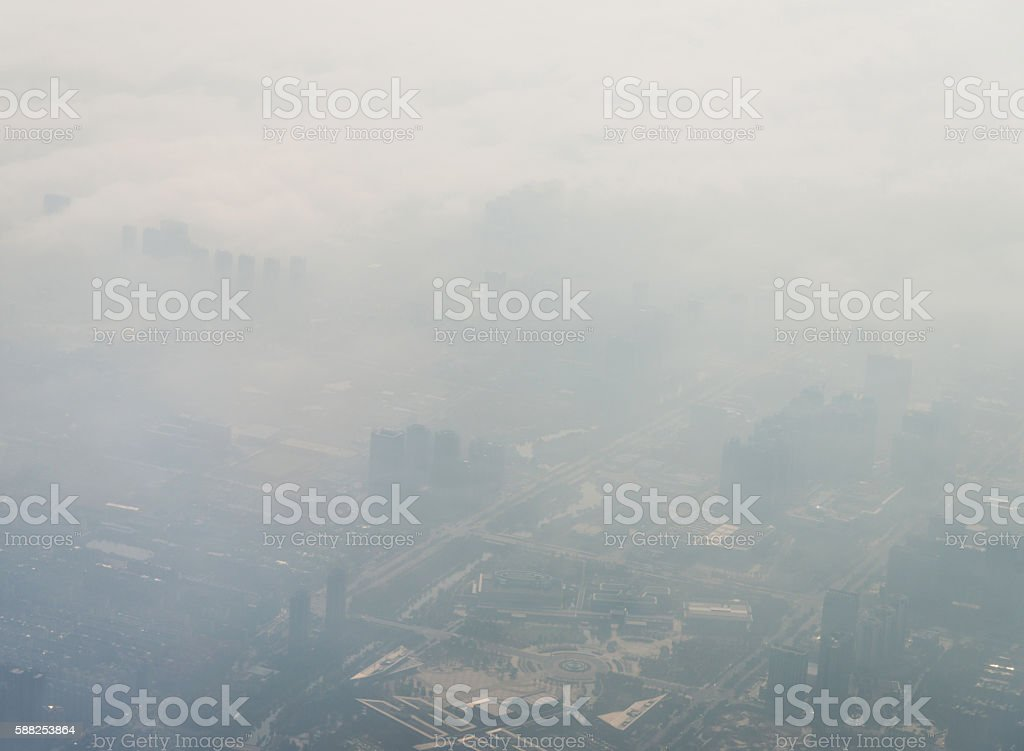 Air pollution in city stock photo