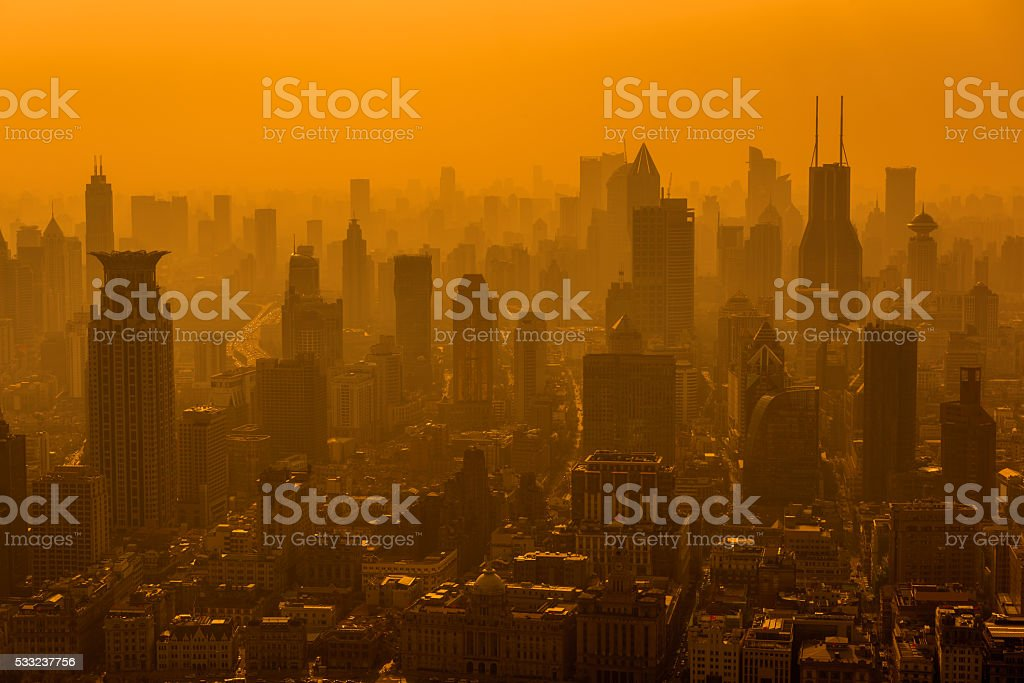 Air pollution in Shanghai, China stock photo