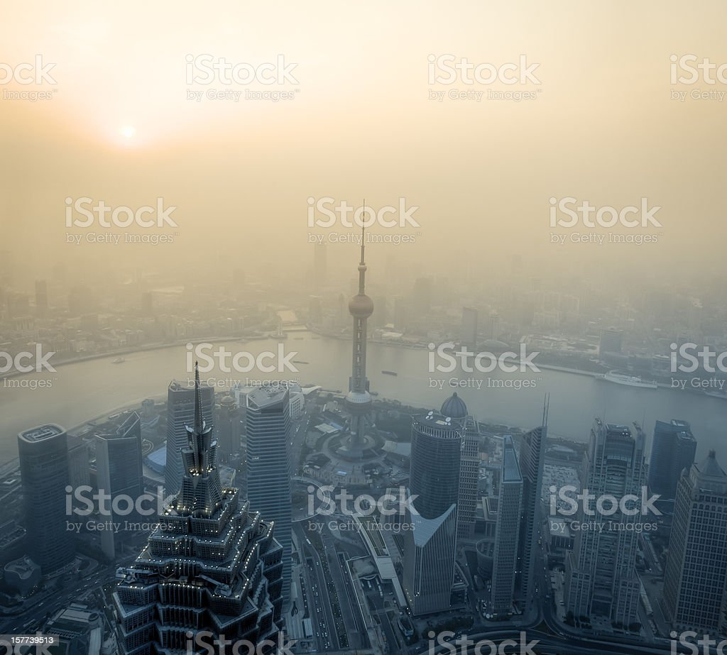 Air pollution in Shanghai, China with river stock photo