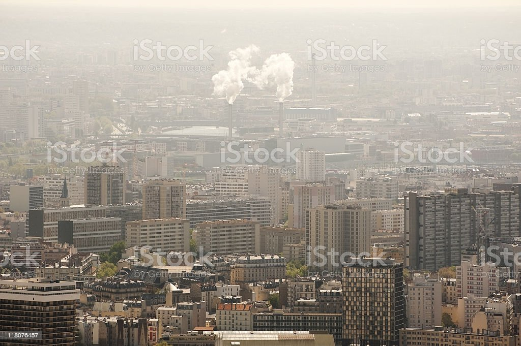Air Pollution - Incinerator Plant On City Skyline royalty-free stock photo