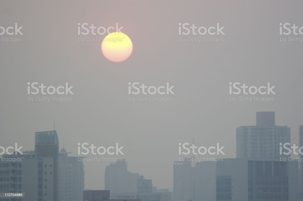 Air Pollution Sunset Over Beijing China royalty-free stock photo