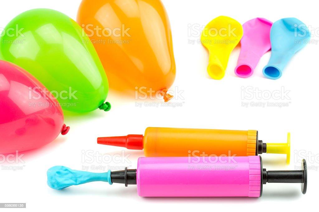 Air pump with balloon stock photo