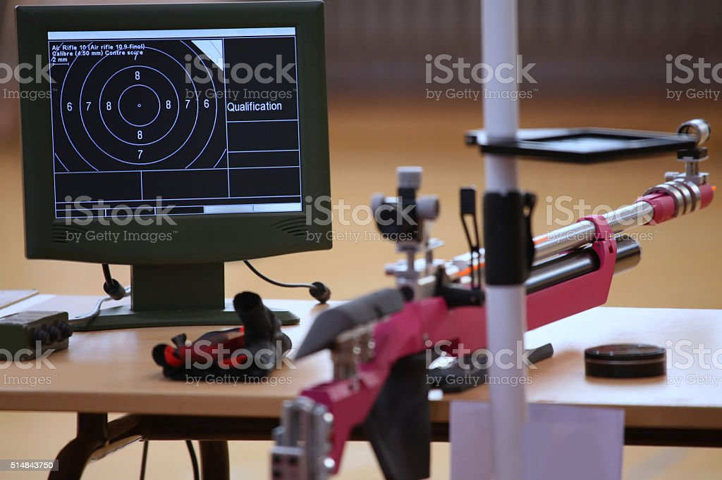 air rifle and 10m target monitor stock photo