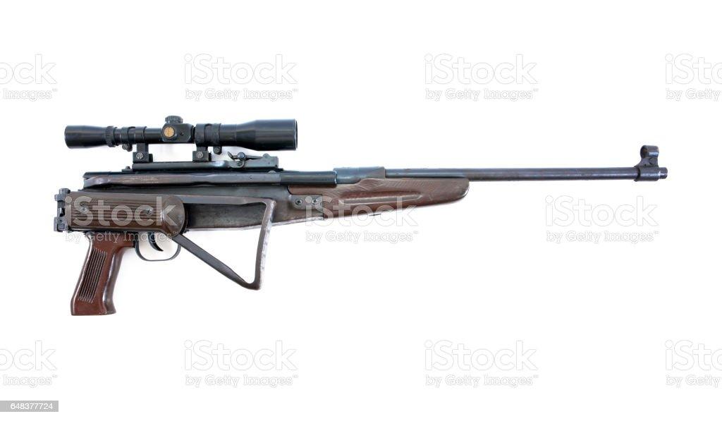 Air rifle isolated over white.Air gun isolated.Long air gun isolated. stock photo