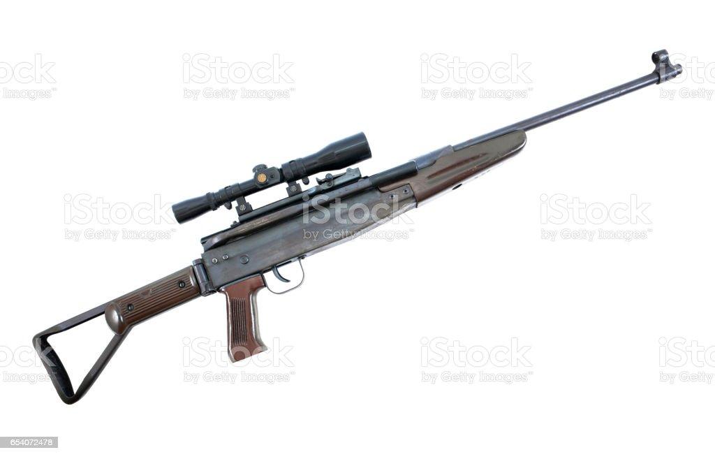 Air rifle isolated over white.Air gun isolated.Long air gun isolated stock photo