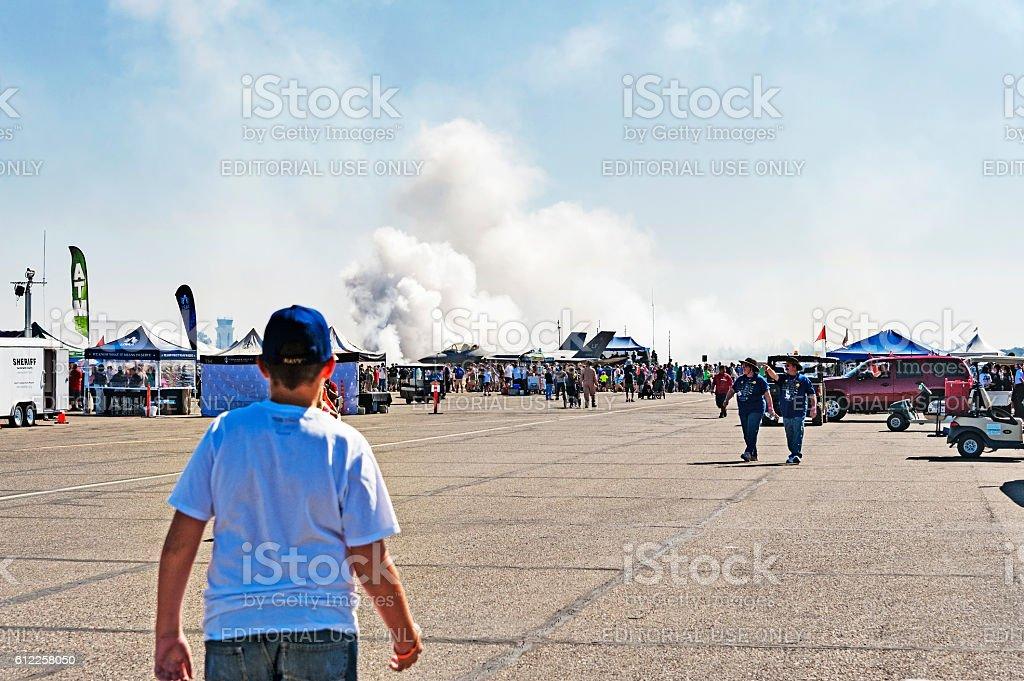 Air Show Bombing Run Demonstration stock photo