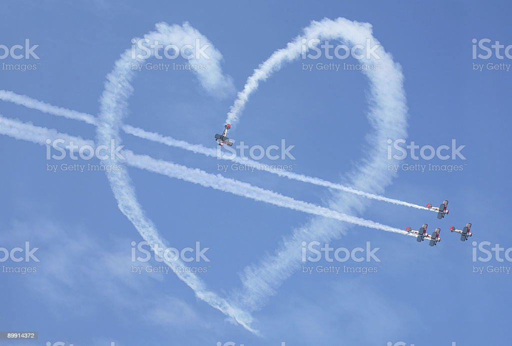 Air show heart loop stock photo