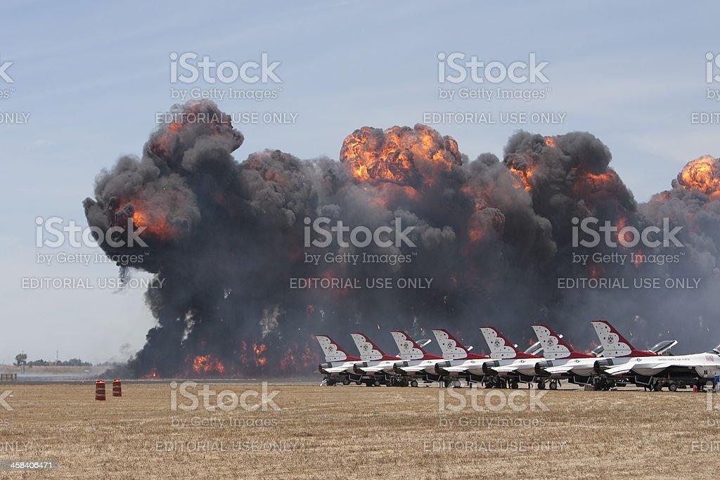Air show pyrotechnics and USAF Thunderbirds royalty-free stock photo