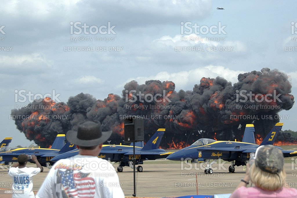 Air Show 'Wall of Fire' royalty-free stock photo